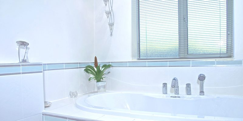 Clean white bathroom. Bath tub with plants around it